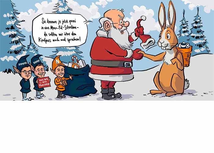 Frohe Weihnachten (Grußkarte): Osterhase tritt Nachfolge des Weihnachtsmanns an