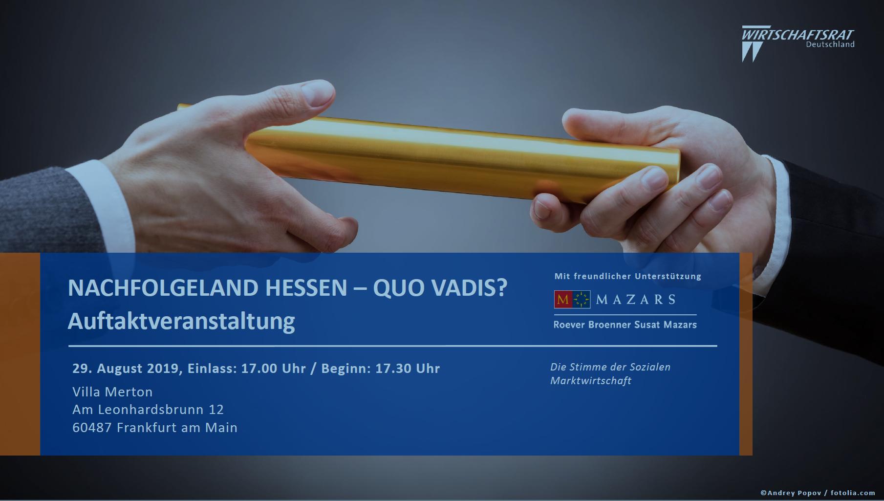 Einladung Wirtschaftsrat Deutschland - Nachfolgeveranstaltung - Nachfolgekontor